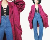 1980s Draped Blazer Abstract Rose Print Jacket Double Breasted Red Blazer Womens Slouchy Jacket Jersey Draped Red Cotton Jacket (L/XL)