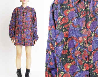 Vintage Floral Print Silk Blouse 1990s Floral Silk Shirt Womens Silk Button Up Shirt Collared Blouse Purple Red Abstract Flowers Artsy (L)