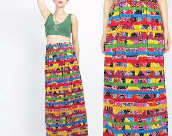 60s 70s Embroidered Cotton Maxi Skirt Floral Striped Maxi Skirt Hippie Boho Rainbow Skirt Vintage Ethnic Embroidered Skirt (M/L) E488