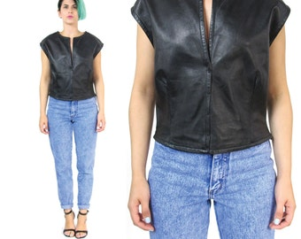 Designer Black Leather Top 1990s Narciso Rodriguez Shirt Boxy Loose Minimalist Black Leather Tshirt Vintage Sleeveless Leather Blouse (M/L)