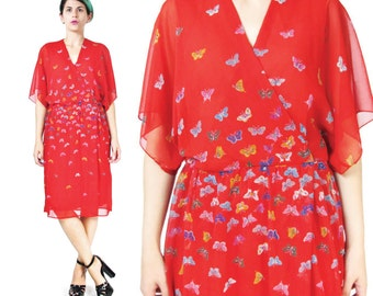 Vintage 1970s HANAE MORI Dress Butterfly Print Dress Japanese Designer Couture Dress Knee Length Slouchy Red Wrap Printed Dress Size 6 (S/M)