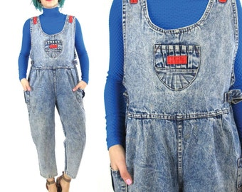 50% OFF SALE 90s Denim Overalls Grunge Acid Wash Overalls Vintage Petites Jumpsuit Sleeveless Onesie Womens Hip Hop Club Kid Jeans (S/M)
