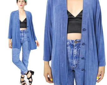 90s Blue Slinky Cardigan Slinky Jersey Long Sleeve Top Button Down Front Minimalist Layering Cardigan Coverup Periwinkle Blue Cardigan (L)