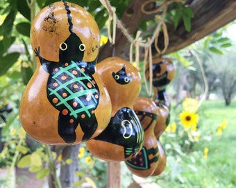 Vintage small gourd with Mimbres animal design Christmas ornament Southwestern decor