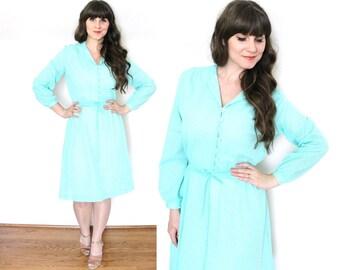 Seafoam Dress / Mint 1970's Dress