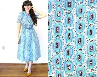 1950s Novelty Print Dress / 50s Dress / 1950s Blue Sheer Candy Print Dress