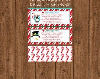 Snowman Soup Bag Topper / Christmas Bag Topper / School Snowman Soup / Candy Cane Bag Topper / Kids Snowman Topper / Printable / Instant