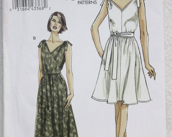 """Sz 8, 10, 12, 14, 16  Very Easy Vogue Sewing Pattern V8645 Pull Over, Lined Dress with Side Pockets and Sash  bust 31.5""""-36"""""""