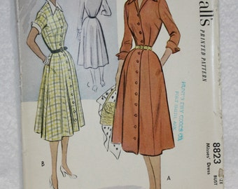 "Sz14 Bust 32"" Vintage 50's McCall's Sewing Pattern 8823 Shirtwaist Dress, Button Front with Sleeve Variation  Bust 32, Waist 26.5, Hip 35"