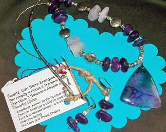 Dragon Vein Agate Pendent with Pink Quartz and Dyed Amethyst   Chunky Necklace   Metaphysical Properties