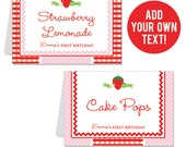 INSTANT DOWNLOAD Strawberry Party Buffet Cards - EDITABLE Printable File