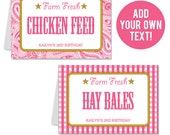 INSTANT DOWNLOAD Pink Country-Western Party Buffet Cards - EDITABLE Printable File