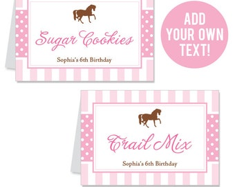 INSTANT DOWNLOAD Pony Party / Horse Party Buffet Cards - EDITABLE Printable File