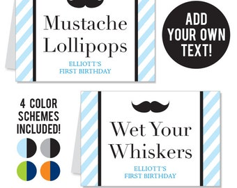 INSTANT DOWNLOAD Mustache Bash Buffet Cards - EDITABLE Printable File - 4 Color Schemes Included