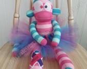 Thyroid Cancer Awareness Sock Monkey Doll