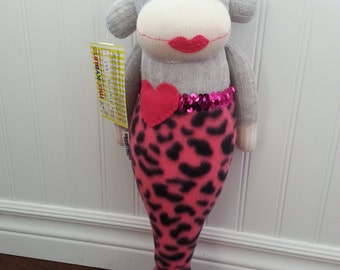 Mermaid Sock Monkey Doll