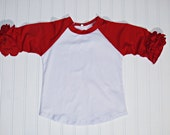 Red Icing Ruffle Raglan Shirt, Girls Red Ruffle Shirt, Girls Baseball Shirt, Baseball Raglan, Football Shirt, Team Colors, Triple Ruffle