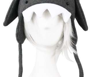 Gray Shark Fleece Hat Attack of Super Rawr Awesome Winterness