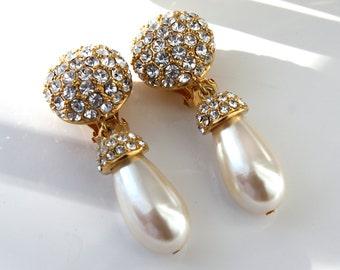 Vintage St. Johns Rhinestone Pearl Drop Earrings