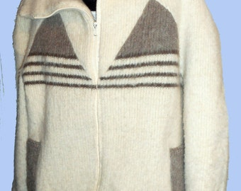 Men's Vintage Icelandic Zip Cardigan Sweater will shawl collar Sz XL by ROSKVA