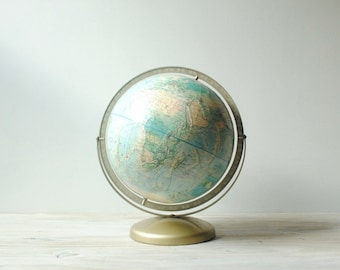 "Vintage World Globe, 12"" Rand McNally Relief Globe"
