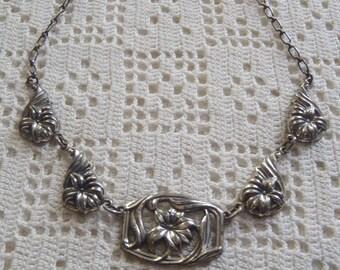 Vintage Necklace Sterling Silver Floral Links Danecraft