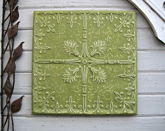 Antique PRESSED TIN. 2'x2' FRAMED Tin Ceiling Tile.  Vintage Architecture salvage. Apple green metal wall decor. Vintage wall hanging.