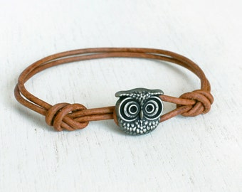 Owl Leather Bracelet (many colors to choose)