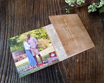 All in One Wedding Invitation Suite (172) - rustic · typography · tear off RSVP · photos