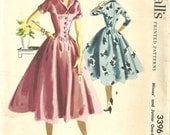 Vintage 50s Sewing Pattern / McCalls 3396 / Dress / Size 14 Bust 32