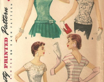 Simplicity 1126 / Vintage 50s Sewing Pattern / Blouse Overblouse Shirt Top / Size 12 Bust 30