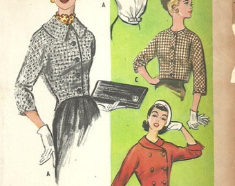 McCalls 3936 / Vintage 50s Sewing Pattern / Cropped Jacket / Bolero / Size 14 Bust 34