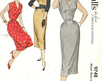 McCalls 9748 / Vintage 50s Sewing Pattern / Dress Or Jumper / Size 14 Bust 32