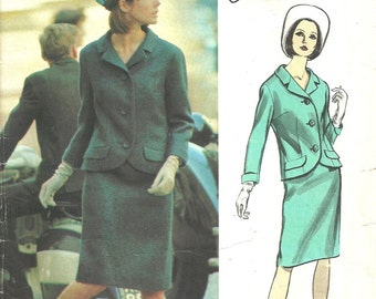 Vogue 1423 / Vintage Couturier Design Sewing Pattern By Jo Mattli / Skirt Jacket Suit / Size 14 Bust 34