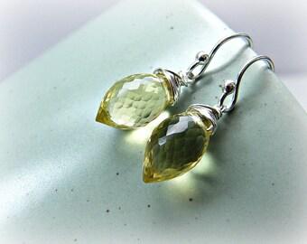 Gemstone earrings, dainty gemstone earrings, lemon earrings, lemon quartz earrings, quartz sterling earrings, oro verde silver earrings