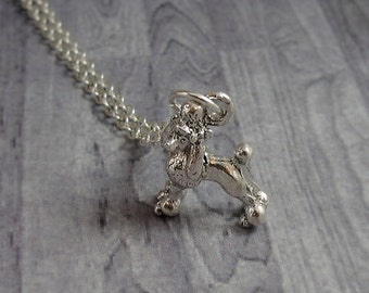 French Poodle Necklace, Silver Plated Poodle Charm on a Silver Cable Chain