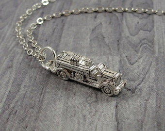 Fire Engine Necklace, Silver Plated Fire Truck Charm on a Silver Cable Chain