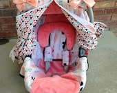 Girl Car Seat Cover and Car Seat Canopy in Blush, Mint, Black & White - Gift Set