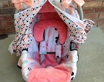 Girl Car Seat Cover and Car Seat Canopy in Blush, Mint, Black & White - 5 Piece Gift Set