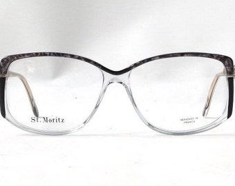 vintage 1980's NOS eyeglasses oversized grey marble black clear plastic frames prescription womens eyewear retro eye glasses modern new pink