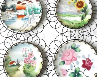 vintage 1960's porcelain plate wall hanging metal spiral wire mid century modern retro decorative home decor japan handpainted flowers set 4