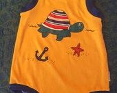 80s Yellow Beach Turtle Summer Romper, Baby Size 18 months