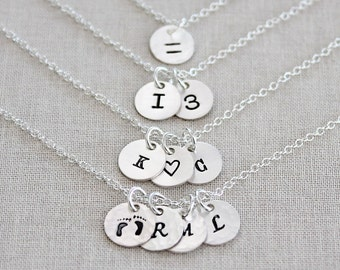 Tiny Sterling Silver Disc Necklace, Personalized Multi Disc Necklace, Silver Initial Necklace 1, 2, 3, 4, 5 Disks