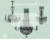 Antique French Chandelier Clipart Crystal Chandeliers Vol 1 PNG Clip Art