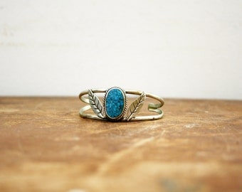 Vintage Southwestern Silver and Turquoise  Cuff Bracelet Stamped Mexico