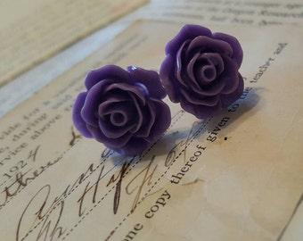 Purple Rose Flower Resin Flower plugs Gauges 0g