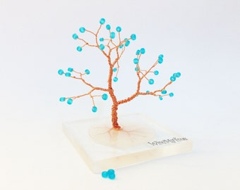 blue gold wire tree statue resin plexiglass tree whimsical wire tree of life home minimalistic decor wire wrapped tree gift for him under 25