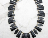 Statement Necklace  [Chunky Statement Necklace Black Obsidian Fringe Statement Crystal Collar] RAVEN