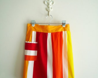 Midcentury Modern Striped Ric Rac Apron, Red Orange Yellow and White Mod Apron