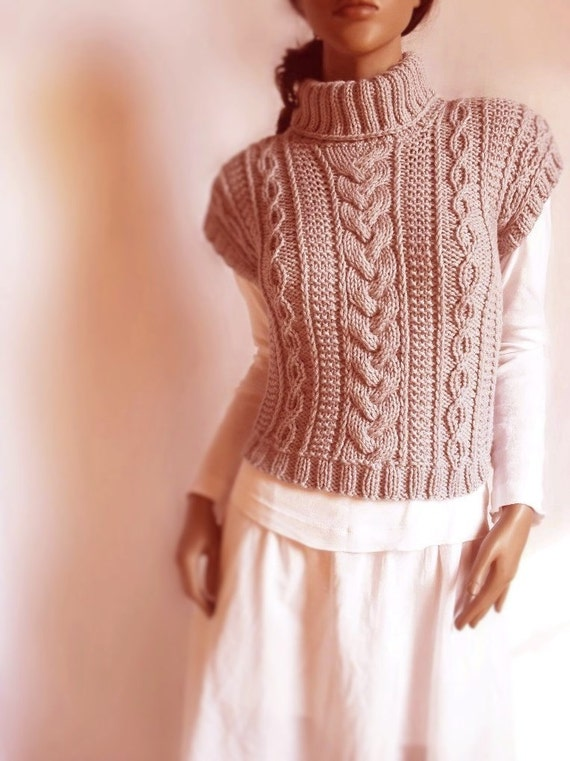 Women's Cable Knit Sweater Turtleneck Vest Waistcoat Short Sleeve Sweater Many colors available